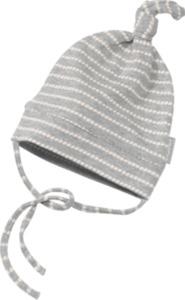 ALANA Baby-Mütze, Gr. 44/45, in Bio-Baumwolle und Elasthan, grau, weiß, für Mädchen und Jungen