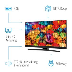 MEDION LIFE® S15501 Smart-TV, 138,8cm (55'') Ultra HD Display, HDR, Dolby Vision, PVR ready, Netflix, Bluetooth®, DTS HD, HD Triple Tuner, CI+