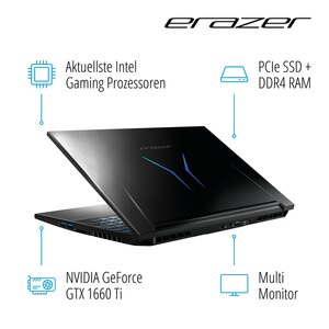 "MEDION ERAZER® X15801, Intel® Core™ i5-9300H, Windows 10 Home, 39,6 cm (15,6"") FHD Display, GTX 1660 Ti, 256 GB PCIe SSD, 1 TB HDD, 16 GB RAM, High-End Gaming Notebook"