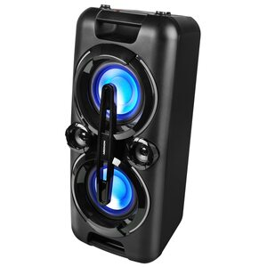 MEDION LIFE® P67013 Partylautsprecher mit Bluetooth, farbige LED-Lichter, kraftvolle Bässe, 2 x USB, AUX, 2 x 22 W RMS, integr. Akku