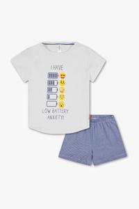 Emoji - Shorty-Pyjama - Bio-Baumwolle - 2 teilig