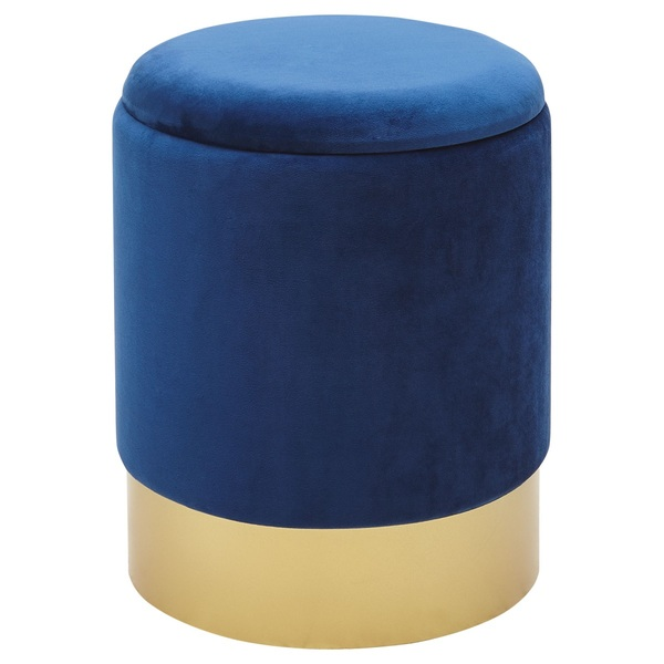 Hocker Mit Stauraum 35 X 44 Cm Samtstoff Blau Von Porta