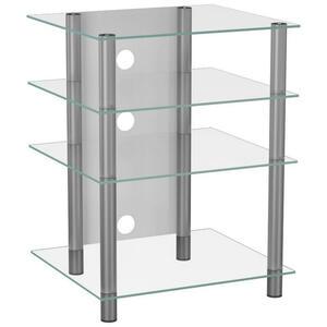 XXXL PHONOTISCH Metall, Glas Weiß, Grau