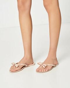 Jelly-Sandalen mit Schleife & Perlen