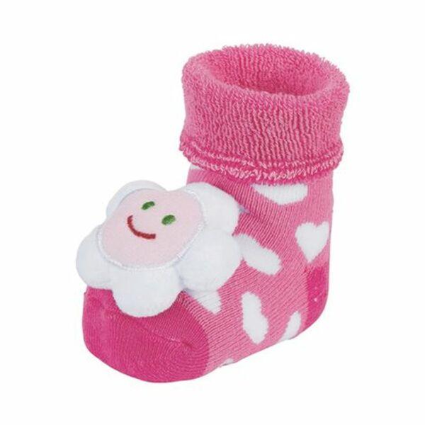 Rasselsocken Blume pink
