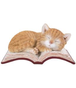 Dehner Polyresin-Katze auf Buch, 18 x 12 x 9 cm