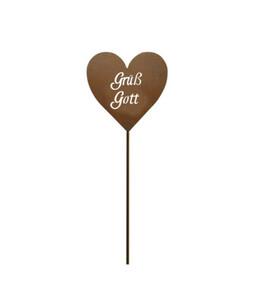 Metall-Stecker Herz Grüß Gott