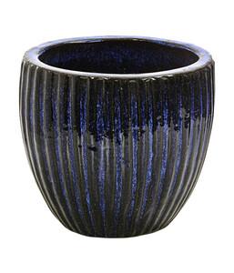 Dehner Keramik-Topf mit Riffelstruktur, glasiert