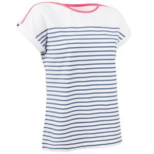 Segelshirt kurzarm Sailing 100 Damen weiß/grau