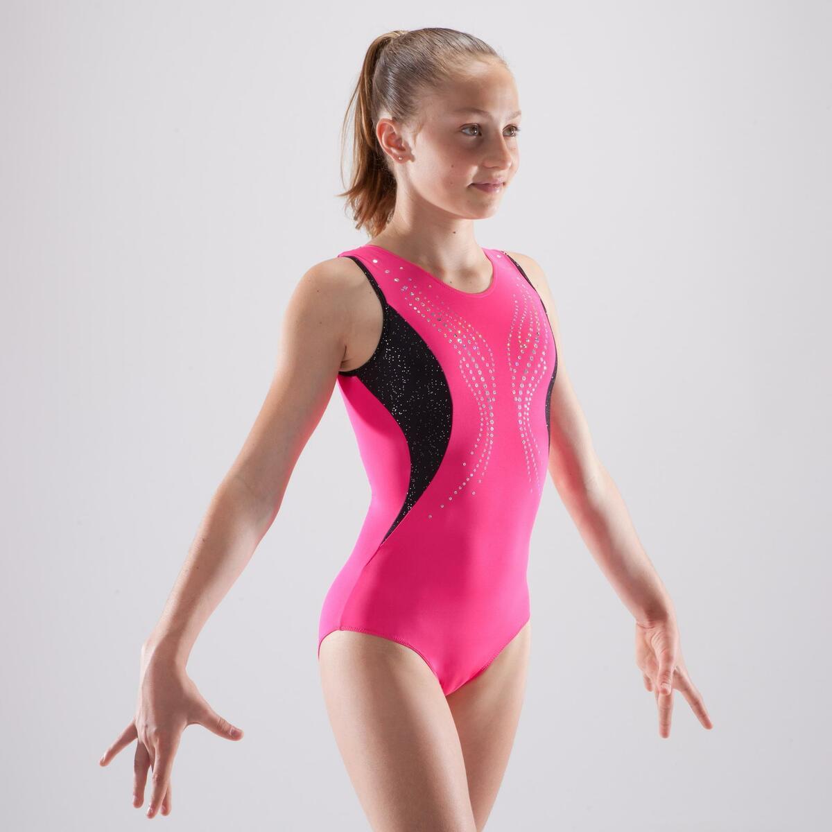 Bild 2 von Gymnastikanzug Turnanzug ärmellos Pailletten rosa