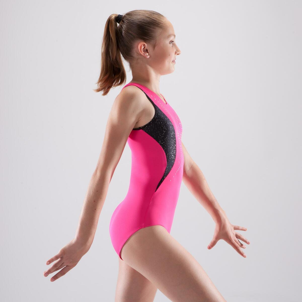 Bild 3 von Gymnastikanzug Turnanzug ärmellos Pailletten rosa