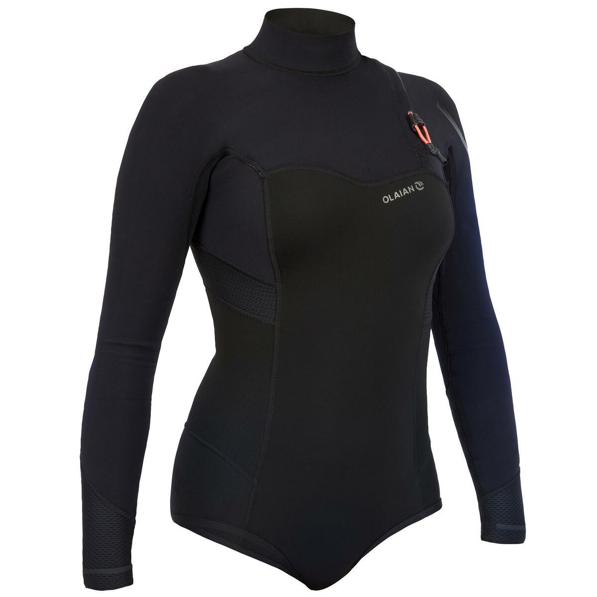 Bild 1 von Neoprenshorty Langarm Surfen 900LS ohne Reißverschluss Damen schwarz