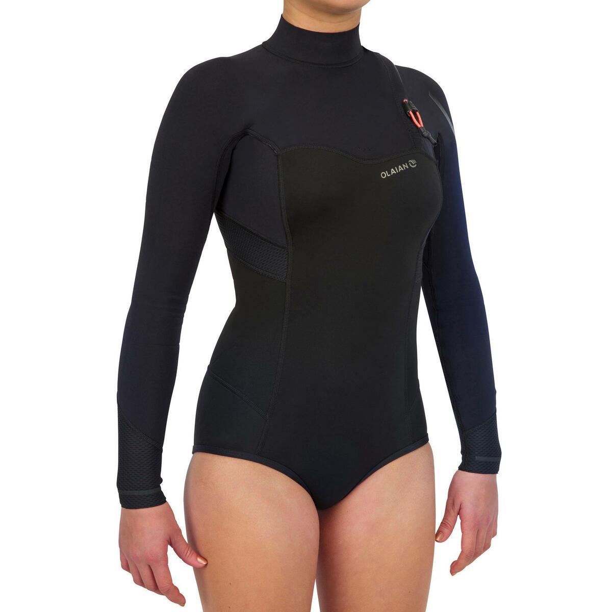 Bild 3 von Neoprenshorty Langarm Surfen 900LS ohne Reißverschluss Damen schwarz