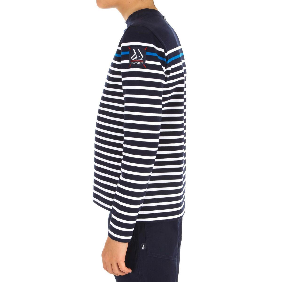 Bild 2 von Segelshirt langarm Sailing 100 Jungen blau gestreift