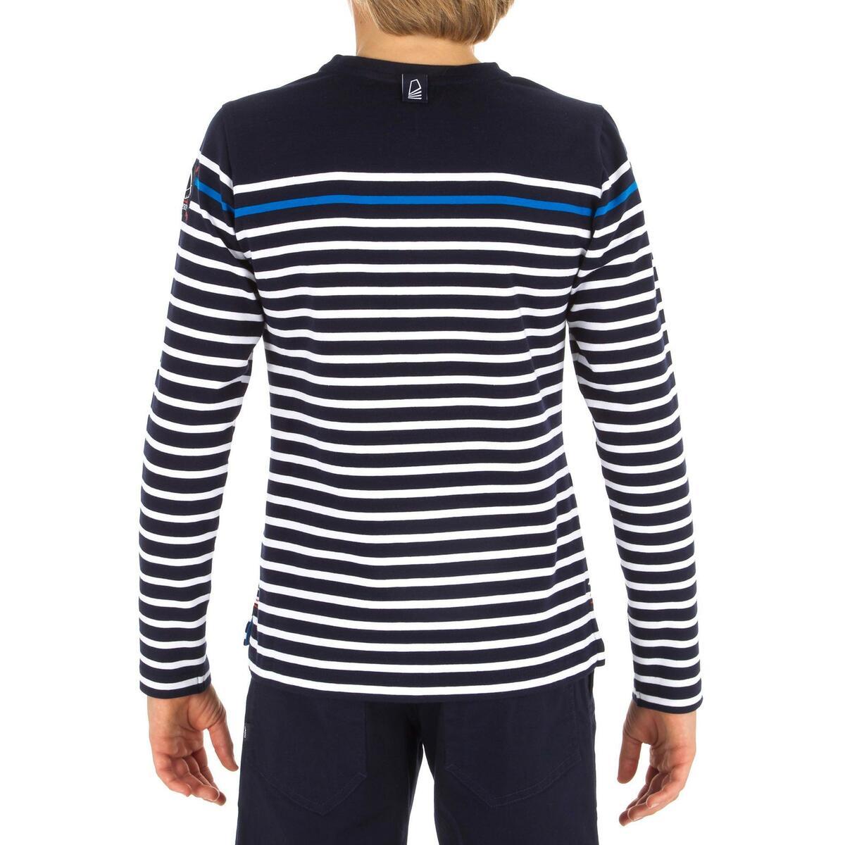Bild 3 von Segelshirt langarm Sailing 100 Jungen blau gestreift