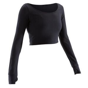 Crop-Top Langarm Modern Dance Damen schwarz
