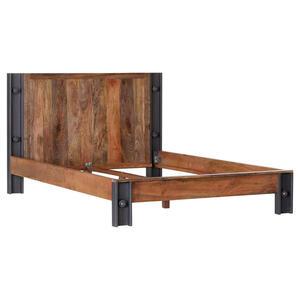 Carryhome BETT Mangoholz massiv 140/200 cm, Grau, Mehrfarbig