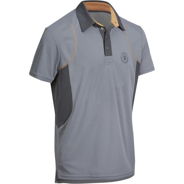 Reit-Poloshirt 500 Mesh Herren grau/beige