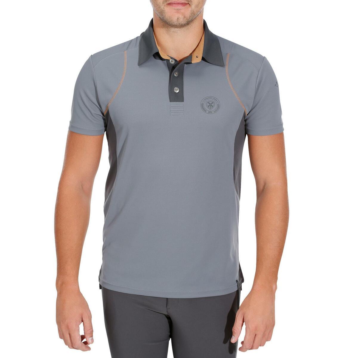 Bild 2 von Reit-Poloshirt 500 Mesh Herren grau/beige