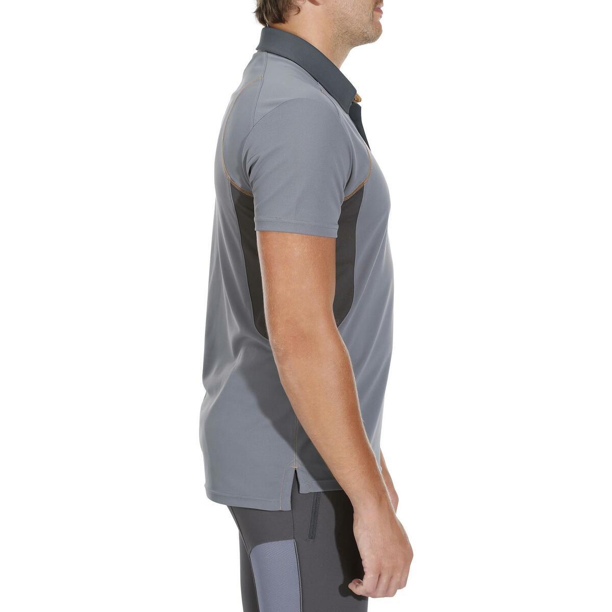 Bild 3 von Reit-Poloshirt 500 Mesh Herren grau/beige
