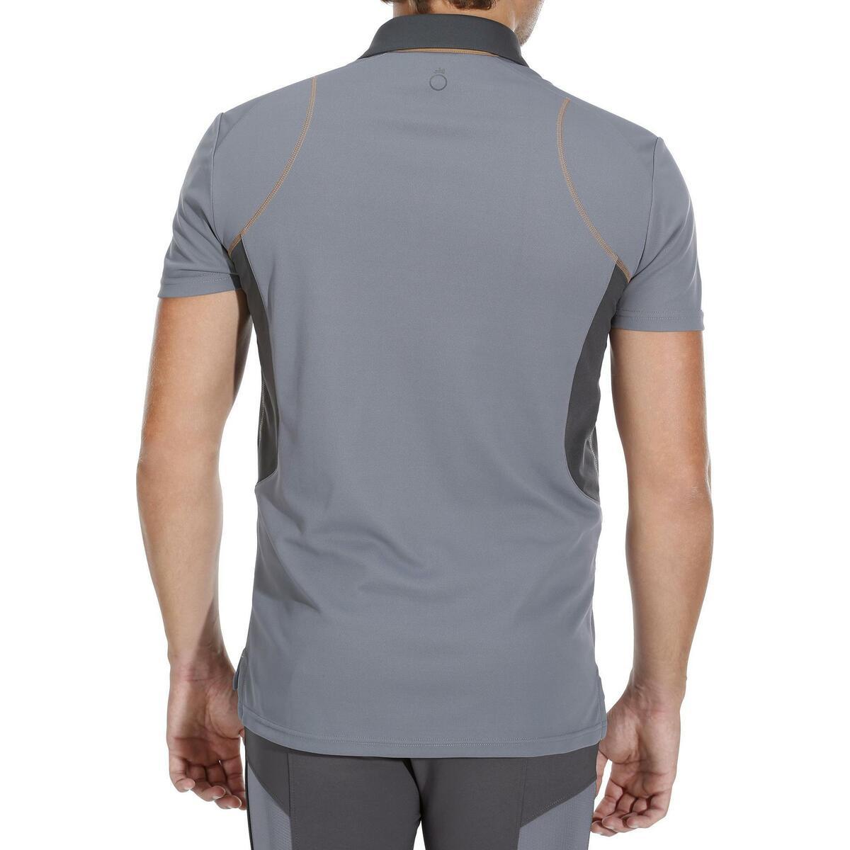 Bild 4 von Reit-Poloshirt 500 Mesh Herren grau/beige