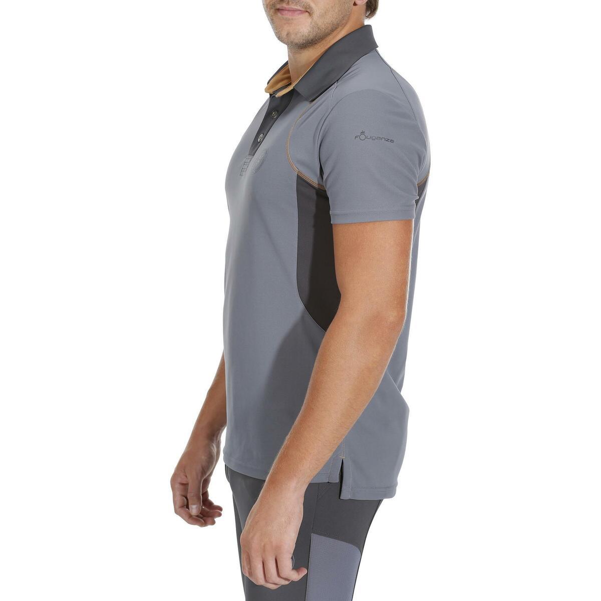 Bild 5 von Reit-Poloshirt 500 Mesh Herren grau/beige