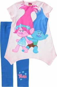 Trolls Kinder Set Jerseykleid + Leggings rosa/blau Gr. 92/98 Mädchen Kleinkinder