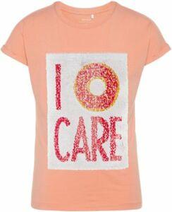 T-Shirt NKFICON , mit Wendepailletten koralle Gr. 134/140 Mädchen Kinder