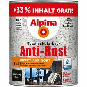 Alpina Metallschutz-Lack Anti-Rost Schwarz Hammerschlag 1 l
