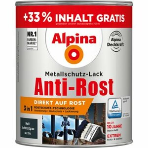 Alpina Metallschutz-Lack Anti-Rost Anthrazitgrau matt 1 l