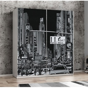 Kleiderschrank Plakato Weiß/Motiv New York ca. 170,3 x 190,5 x 61,2 cm