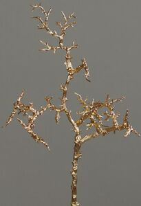 Dekozweig - aus Kunststoff - 38 cm - gold