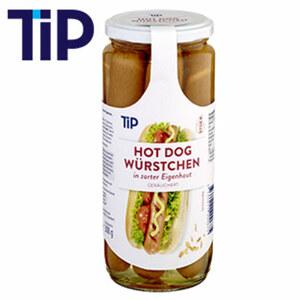 Tip Hot Dog Würstchen  in Eigenhaut, jedes 6/300-g-Glas