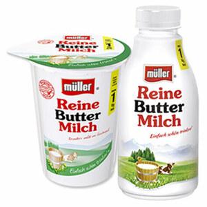 Müller Reine Buttermilch nur 1 % Fett,     jeder 500-ml-Becher/Flasche