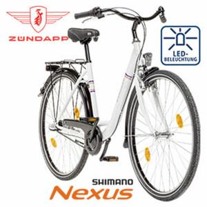 Citybike - Shimano-Nexus-3-Gang- Nabenschaltung, Shimano Drehgriffschalter - Alu-V-Bremse vorne, Rücktrittbremse - Rahmenhöhe 46 cm (26er), 50 cm (28er)