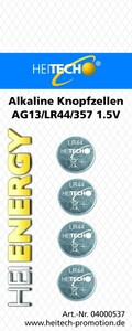 Heitech Alkaline Knopfzellen, 4er Pack AG13/LR44