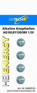 Heitech Alkaline Knopfzellen, 4er Pack AG10/LR1130