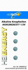 Heitech Alkaline Knopfzellen, 4er Pack AG4/LR626