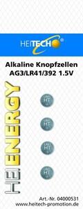 Heitech Alkaline Knopfzellen 4er Pack AG3/LR41
