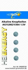 Heitech Alkaline Knopfzellen, 4er Pack AG1/LR621