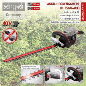 Scheppach Akku-Heckenschere BHT560-40Li
