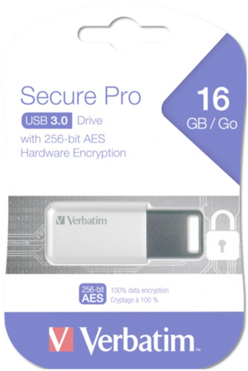 Bild 1 von Verbatim Store `n` Go Secure Pro - USB-Flash-Laufwerk - verschlüsselt - 16 GB - USB 3.0
