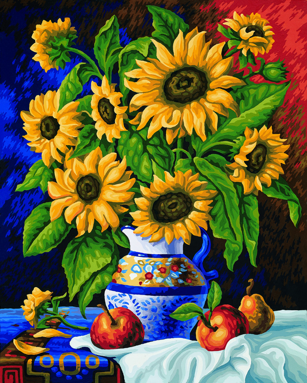 Noris Spiele Malen nach Zahlen - Stillleben mit Sonnenblumen; 609130308