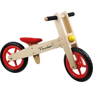 Small Foot Design 4713 Laufrad Number 1, aus Holz, besonders leicht, natur/rot (1 Stück)