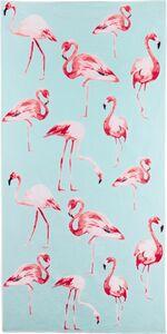EASYmaxx Strandtuch XL Flamingo 80x160cm rosa/blau Mikrofaser inkl. Be ...