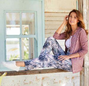 Laura Torelli Classic Damen-Stoffhose mit Tropen-Muster