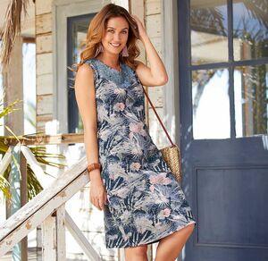 Laura Torelli Classic Damen-Kleid mit tollem Tropen-Muster