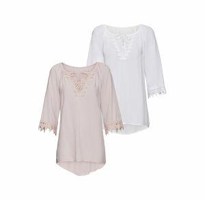 Laura Torelli Classic Damen-Bluse mit hübscher Spitze