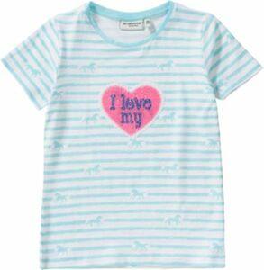 T-Shirt , Pferd hellblau Gr. 104/110 Mädchen Kleinkinder