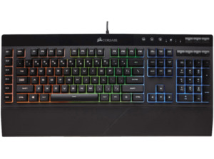 CORSAIR K55 RGB, Gaming Tastatur, Rubberdome